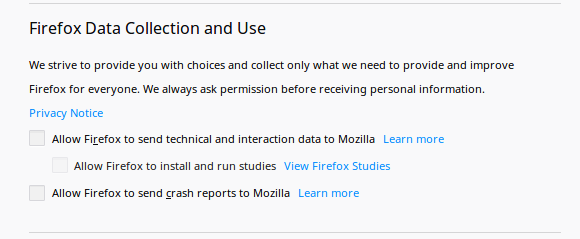 Firefox data collection