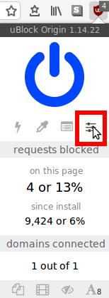 uBlock Origin settings